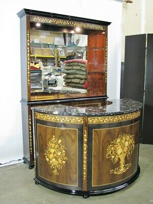 Beautifully Crafted Italian-Made Bar & Back Bar; Exotic Veneers & Inlay