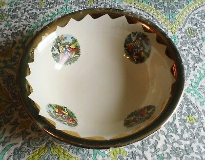 VTG Gold Rimmed French Scene Wash Basin Bowl Excellent Condition Lovers 13.25""
