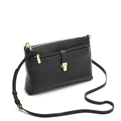 c279b94218b8 Michael Kors Snap Pocket Large Black Leather Crossbody Bag with Pouch $198