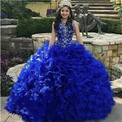 22421fdbbda ... Royal Blue Organza Quinceanera Dresses 2019 Beads Crystal Ball Gown  Sweet 16 5