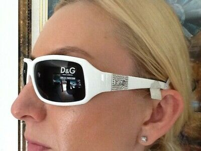 22db2b63a38a New Dolce Gabbana D G Sunglasses Made in Italy White Plastic Frame Silver  Logo