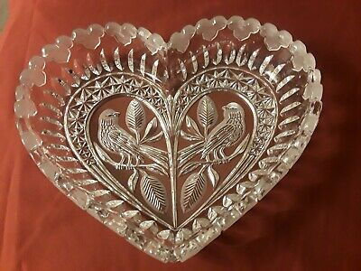 Vintage Cut Glass Heart Shaped Bowl w/Carved Doves N Center Crystal Heart Edges