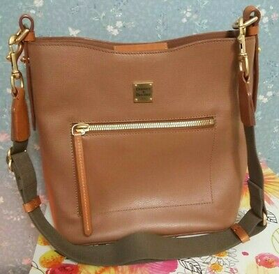 fbf3dc9e0236 Dooney   Bourke Large Roxy Leather Bucket Bag Saddle Brown Exact Item