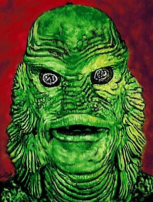 Signed Original Portrait Painting of The Creature From The Black Lagoon
