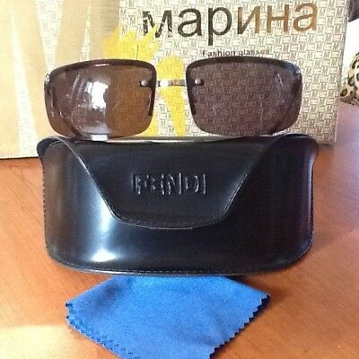 2dd3bc70e386 FENDI Sunglasses MOD.SL 7340 66 Silver Metal Frame and Brown Lens Made in  Italy
