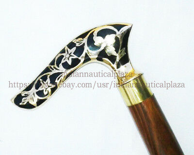 New Brass Handle Antique Style Victorian Vintage Designer Wooden Walking Stick