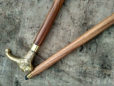 Brass Walking Stick Lion head Vintage Designer Wooden Cane Antique