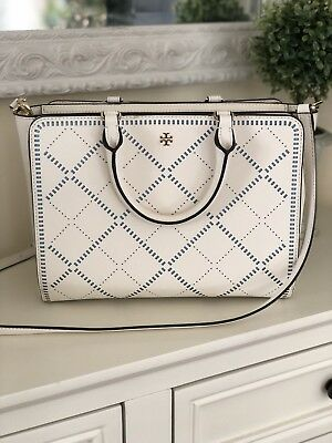29f241c9d02 TORY BURCH Robinson Small Crosshatch Tote Bag Ivory Riviera Blue Retails   550