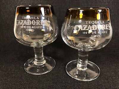 """Pair of Cazadores Tequila Hand-Blown Shot Dessert Glasses 4"""" Tall Brown Rim NEW"""