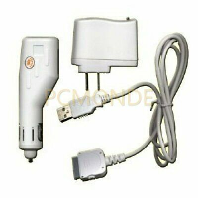 Apple iPod USB Travel Kit w/Car Charger/Travel Adapter/Cable-White