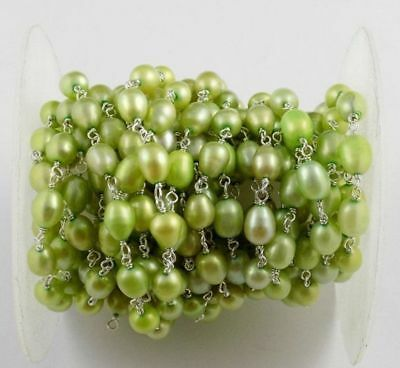 Green Freshwater Pearl Smooth Uneven 5x6mm-5x9mm 925 Silver Plated Rosary Chain