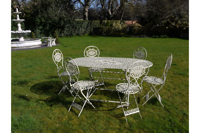 Beautiful French Style 1.6m Ornate Antique White Metal Garden Table / 6 Chairs