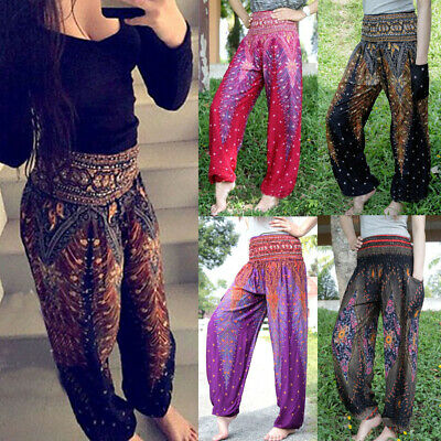 Women Plus Size Harem Floral Loose Casual Hippie Baggy Yoga Pants Trousers AU