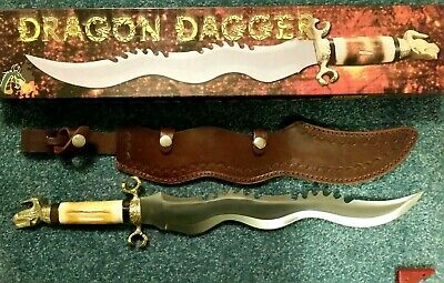 "Vintage Old Smoky 19 3/4"" Large Dragon Dagger Knife, Bone Handle, Leather Sheath"