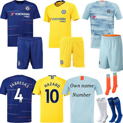 NEW 18/19 Soccer Suit 3-14  Football Short Sleeve Kids Boys Jersey Kit & Socks