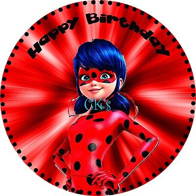 MIRACULOUS LADY BUG Cat Noir Cake Topper Personalised ...