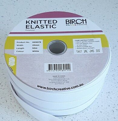 Elastic - knitted-  3mm to 32mm. Birch