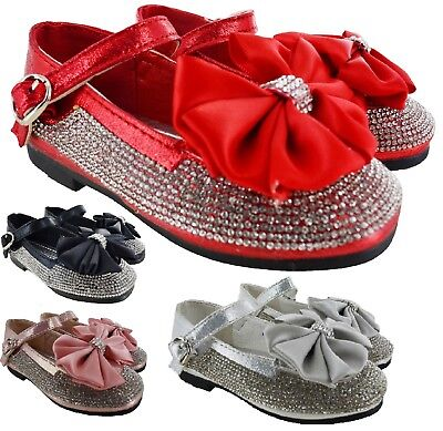 Kids Infants Baby Diamante Bow Flat Girls Spanish Wedding Party Toodler Shoes Sz