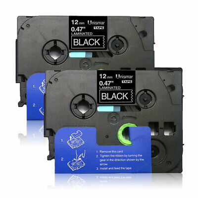 Label Tape 2PK  TZe335 White on Black Compatible for Brother P-Touch  PT-D210
