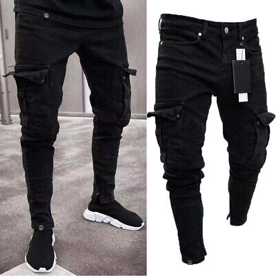 6e8efe6d Mens Skinny Stretch Jeans Distressed Ripped Jeans Freyed Biker Denim Pants