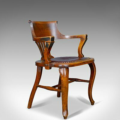 Antique Elbow Chair, English, Oak, Leather, Office, Desk, Captains, Study c.1910