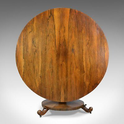William IV, Antique Breakfast Table, English, Rosewood, Tilt Top, Dining, c.1835