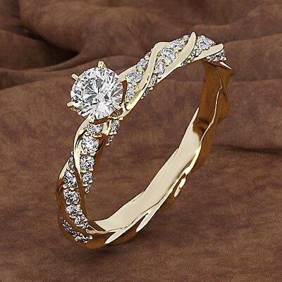 1.00 Ct Round Cut Diamond Solitaire With Accents Ring 14k Yellow Gold Over