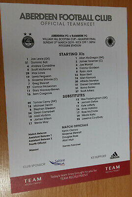 Teamsheet - Aberdeen v Rangers 3rd March 2019 Scottish Cup Quarter-Final