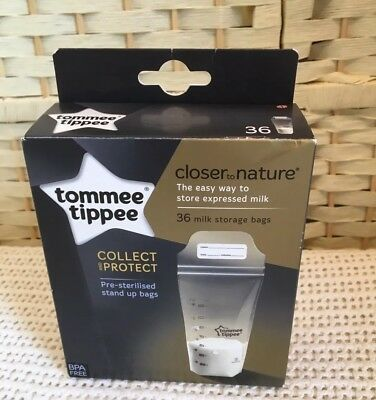 Tommee Tippee Breast Milk Storage Bags Pre-sterilised Closer to Nature 36 Bags