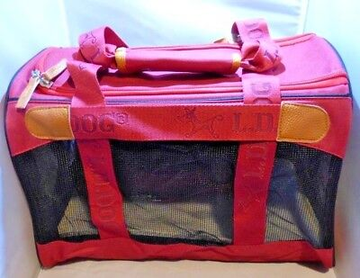 Collapsible Pet Carrier (Fabric) in Maroon, 41x28x28cm  with Fleece Insert