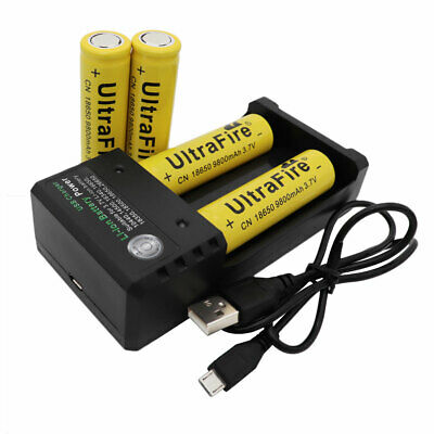 4X18650 9800mAh Battery 3.7V Li-ion Rechargeable For  LED Flashlight+USB Charger