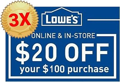 3 Lowes 20 off $100 Instant Delivery 3coupon Online/In-Store Exp 3/24 W BARCODE