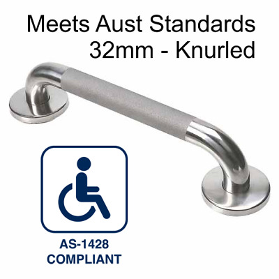 TWO x S/Steel  32mm Handrail for Bathroom/Shower/Toilet 300mm GRAB/SAFETY RAIL