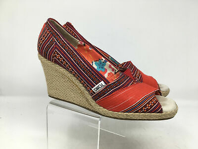 d06bccd5425 TOMS WOMENS RED Multi Print Color Wedge Heels Open-Toe Shoes Size W ...