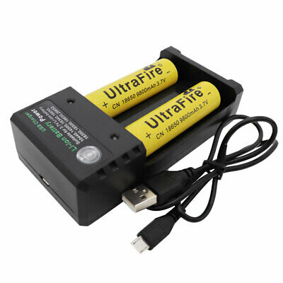 2x Li-ion 18650 9800mAh Battery 3.7V Rechargeable Batteries& 2 Solts USB Charger