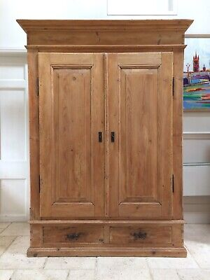 Large Antique Victorian Knockdown Solid Pine Hall Cupboard Double Wardrobe