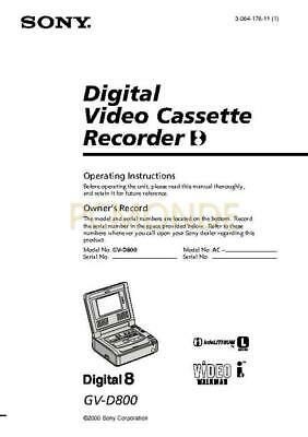 Sony GV-D800 User Guide Operating Instructions (3-064-176-11)