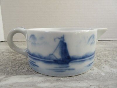 Antique Hand Painted Blue & White German Porcelain Creamer Sailboats