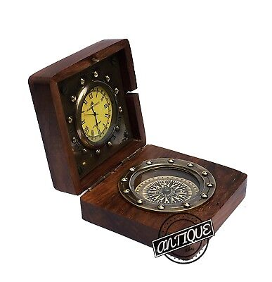 Vintage Old London Clock Wooden Box Antique Desk/Table Mantle Clock with Compass
