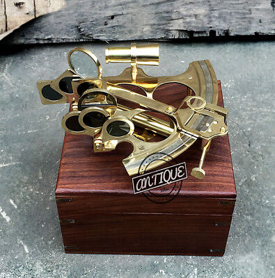New Year Antique Navigation Sextant Brass W Wood Box Astrolabe Instruments V