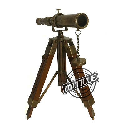 Military Sniper Brass Rustic Telescope and Tripod Wooden Stand Room Window Decor