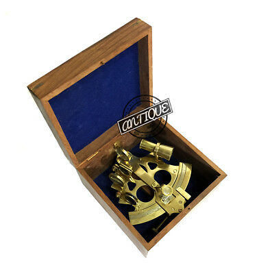 New Year Nautical Ocean Navigation Sextant Solid Reader Wood Box Astrolabe C