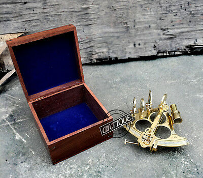 Ancient Navigation Naval Box with Sextant Shiny Scope Marine Brass Gift Premium.