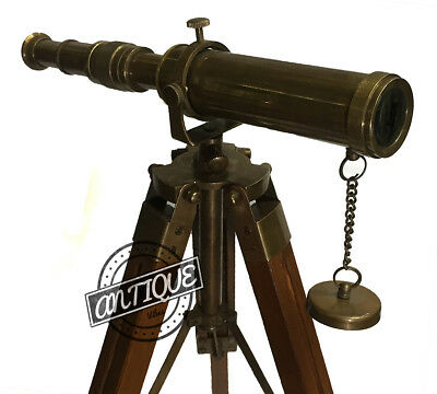 Halloween Vintage Style Wooden Tripod with Telescope Stand Antiques Office-Home