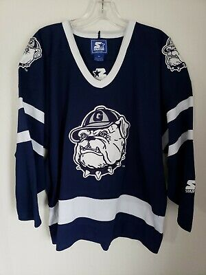 Rare Vintage 90s Georgetown Hoyas Throwback Hockey Starter Jersey Mens M  HipHop c6a220b71