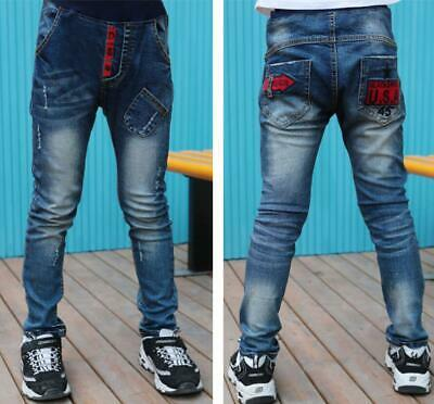 Kids Boys Slim Fit Cotton Stretch Ripped Jeans Denim Pants Casual Trousers New