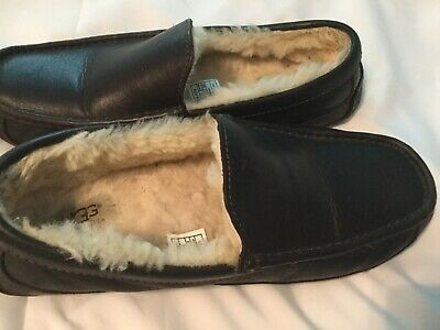 4d106fed740 UGG ASCOT 5379 Men'S Slippers China Tea Leather New* Sz 8 3Ewide 100%  Authentic