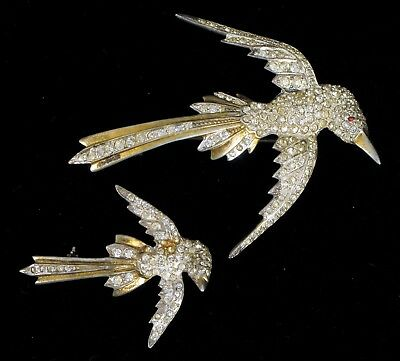 Antique Sterling Silver Rhinestone Pair Of Matching Bird Brooches Very Old !