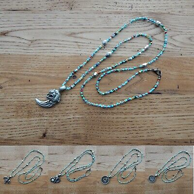 """Handmade silver Czech glass beads seed beads with pewter pendant necklace, 30"""""""