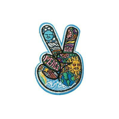 Love And Peace Pattern Hand (Iron On) Embroidery Applique Patch Sew Iron Badge